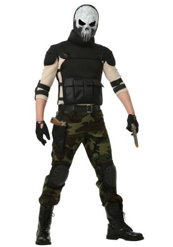 Disfraz de hombre militar esqueleto talla extra