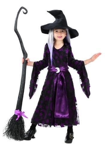 Disfraz de bruja de luna morada para niñas pequeñas