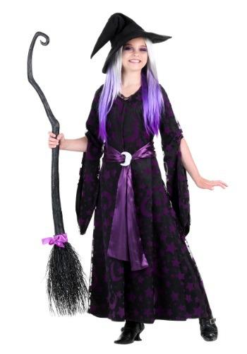 Disfraz de bruja de luna morada para niñas
