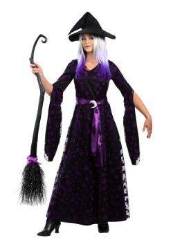 Disfraz de bruja lunar púrpura para mujer talla grande