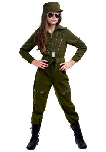 Disfraz de traje de ejército de niñas