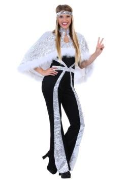 Disfraz Disco plateado deslumbrante para mujer talla extra
