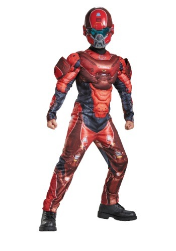 Disfraz con pecho musculoso Halo Red Spartan para niños