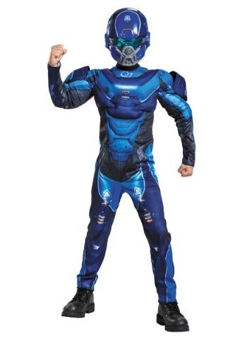 Disfraz de espartano azul musculoso para niños