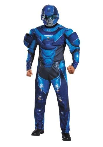 Disfraz con pecho musculoso azul para adulto