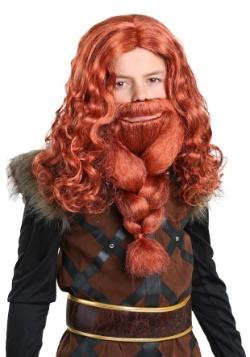 Conjunto de peluca y barba Vikingo para niños rojos
