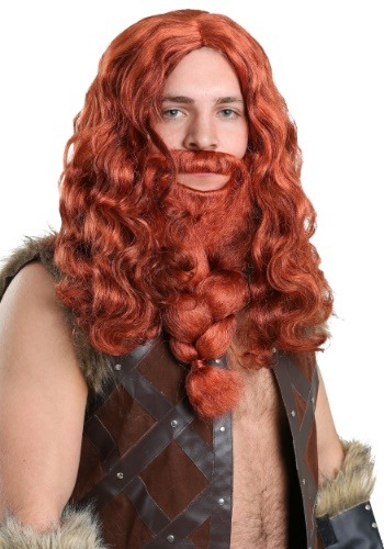 Set de peluca y barba Viking rojo para adultos