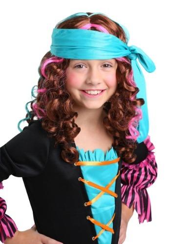 Peluca de princesa pirata para niñas