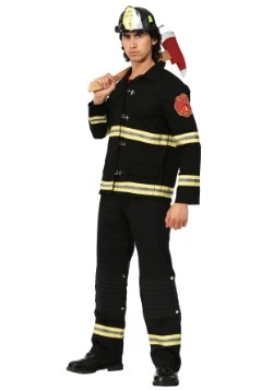 Disfraz de bombero uniforme negro para hombre
