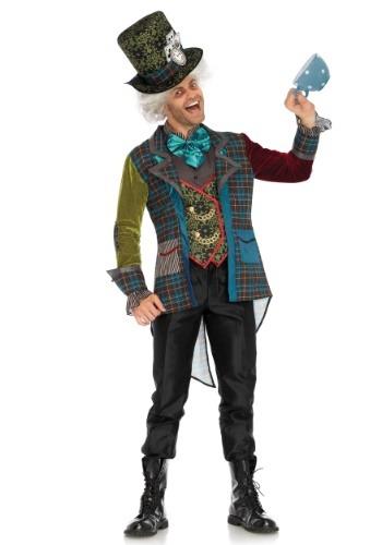 Traje de hombre de sombrerero loco colorido
