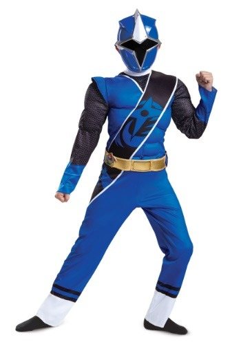 Disfraz de Power Rangers Ninja Steel Blue Ranger Boys Muscle