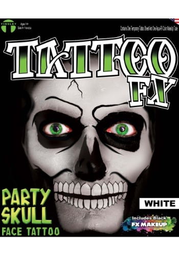 Kit de tatuaje calavera de fiesta blanco