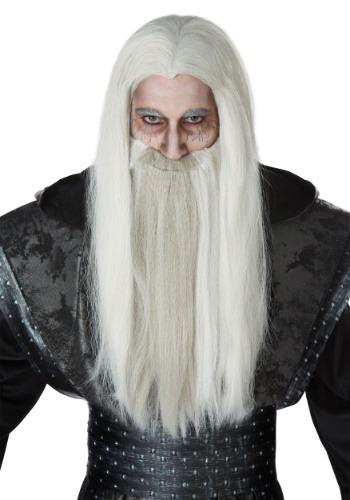 Set de barba y peluca de mago oscuro para adulto