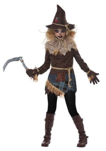 Disfraz de espantapájaros espeluznante para niña