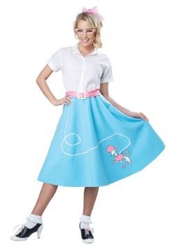 Falda de los 50s azul con Poodle para mujer