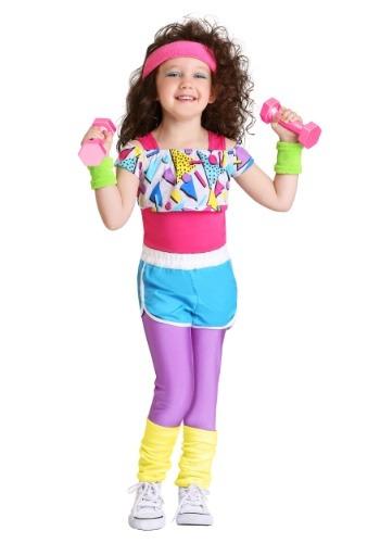 Disfraz de chica ejercitándose de los 80 para niñas pequeñas