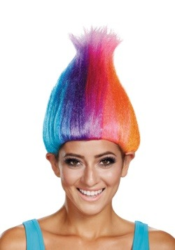 Peluca para adulto de Troll color arcoíris