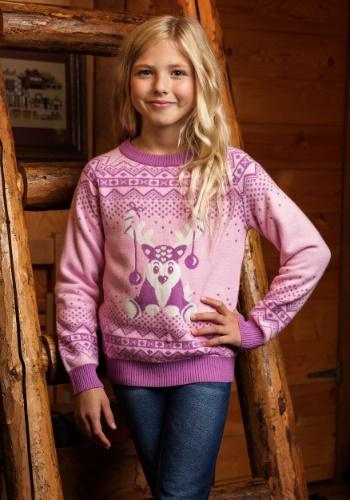 Suéter de reno rosa niña