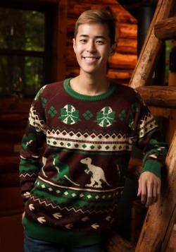Suéter de dinosaurio de vacaciones para hombre