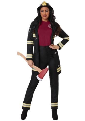Disfraz de bombero negro para mujer talla extra