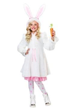 Disfraz de conejo blanco borroso de niña