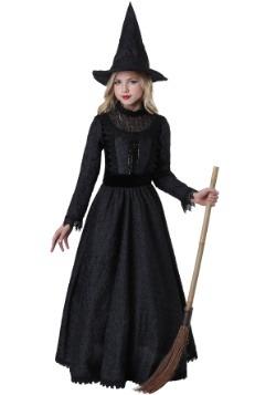 Disfraz de bruja oscura de lujo para niña