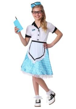 Disfraz de mesera de restaurante de1950 para niños
