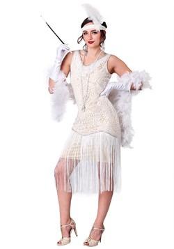 Traje de aleta blanca con flecos de mujer