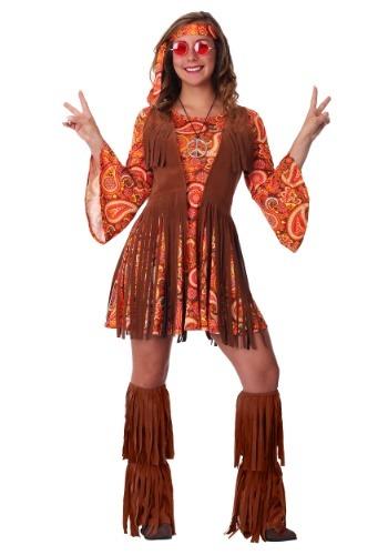 Disfraz de hippie con fleco para mujer
