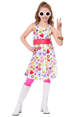 Disfraz de hippie para niña Peace & Love