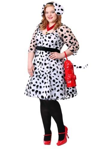 Disfraz de dálmata elegante talla extra para mujer