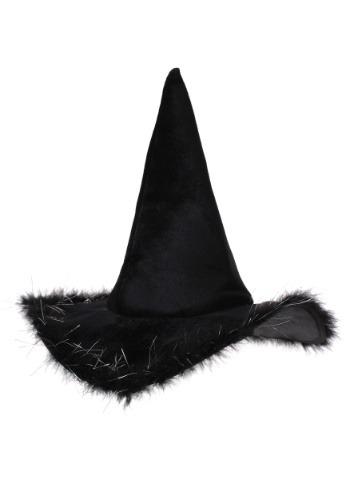 Sombrero de bruja de terciopelo adulto con piel