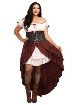 Disfraz de talla grande mujer Saloon Girl