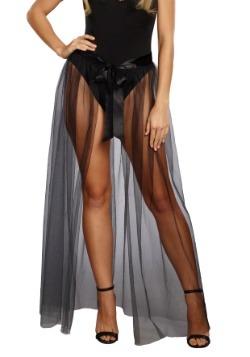 Falda para mujer Sheer Tie-Front negra