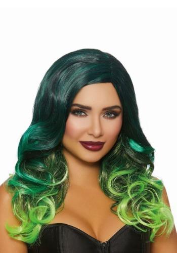 Peluca Ombre larga ondulada negra / verde de las mujeres