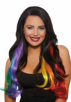 Extensiones de cabello arco iris primario de 3 piezas ondula