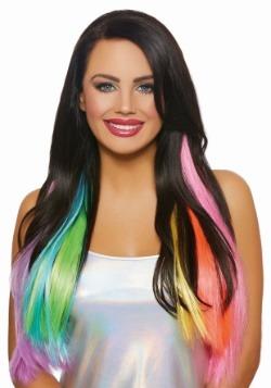 Extensiones onduladas largas del pelo del arco iris de neón