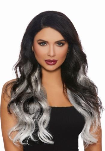 Extensiones largas y rectas de cabello gris Ombre de 3 pieza
