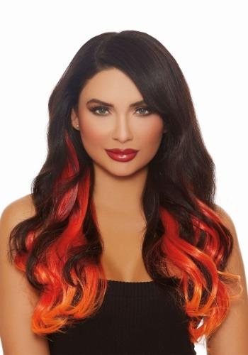 Ext. pelo lacio largo borgoña/rojo/naranja ombre 3 piezas