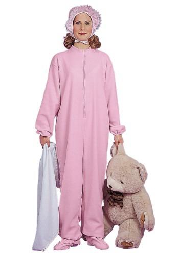 Disfraz de pijama de bebé adulto rosado para mujer