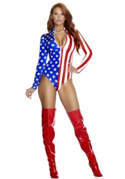 Body con cremallera de la bandera americana de las mujeres