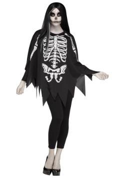 Disfraz poncho con huesos blanco de mujer