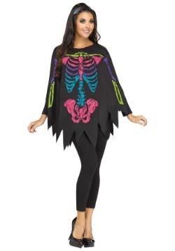 Disfraz de Poncho de Huesos de Color Adulto