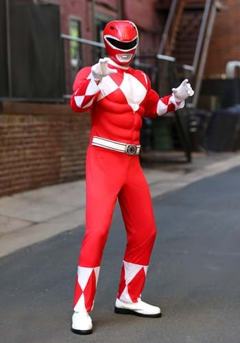 Disfraz de guardabosques rojo Power Rangers adulto