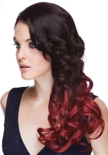 """Crimson Sangria 22 """"clip de calor en extensiones de cabello"""