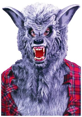 Máscara de hombre lobo gris
