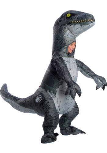 Disfraz de Velociraptor azul inflable Jurassic World 2 para