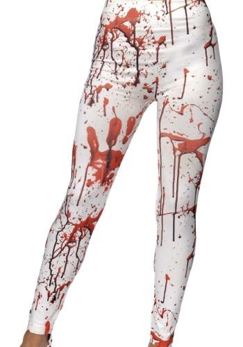 Leotardos salpicados de sangre blanca de mujer