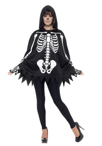 Disfraz de esqueleto de poncho adulto