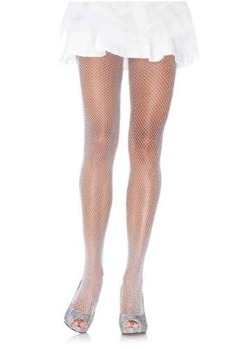 Medias blancas de red con brillos para mujer